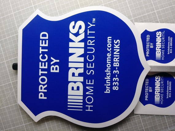 SHIPS TODAY 2 Brinks Home Security Alarm Yard Signs with 10 Decals Stickers