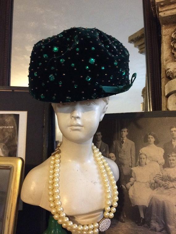 Vintage Green Velvet Rhinestone Hat