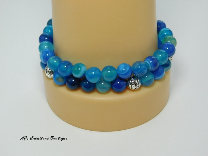 Mermaid Bracelet Birthday Gift for Friend Mermaid Jewelry Blue Stripe Agate Bracelet Set Whale Tail Bracelet Bead Bracelet for Women