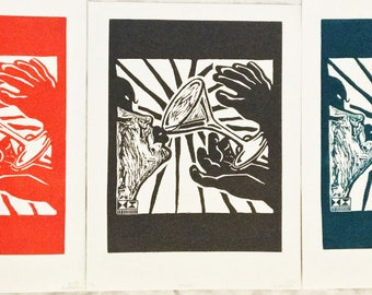 Drink Linoleum Print