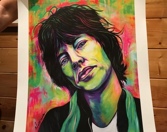 Mick Jagger Art Poster Hand-signed by Artist