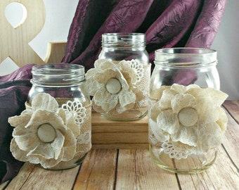 Lace and Burlap Rustic Mason Jar Wedding Decoration Centerpiece