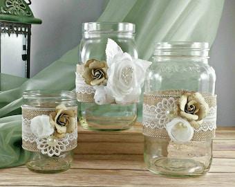 Burlap and Lace Rustic Mason Jar Wedding Decoration Centerpiece