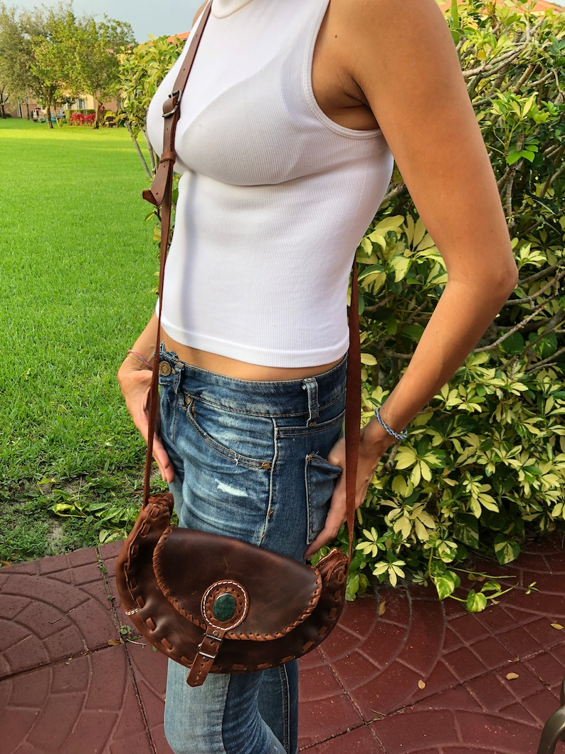 eeca6eff48 Half moon shape handmade leather crossbody bag