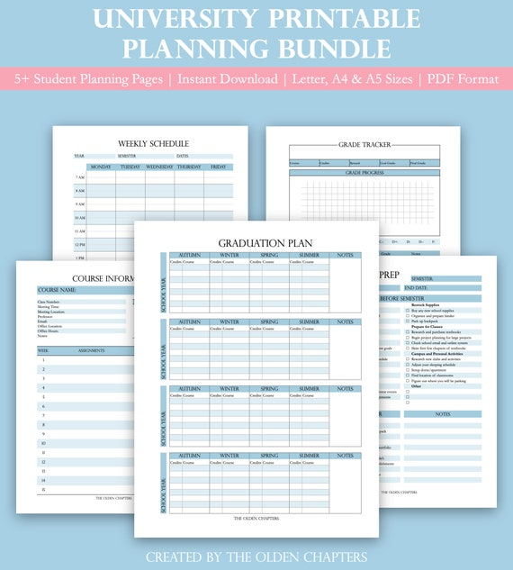 University Planning Printable Bundle | Student Planner | Graduation Plan |  Weekly Schedule | Grade Tracker | Time Table | A4, A5 and Letter