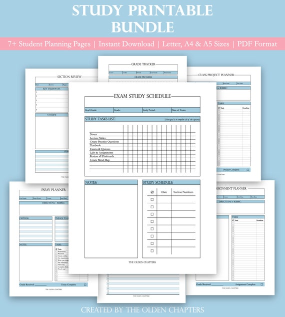 Study Printable Bundle | Student Study Planner | Assignment Tracker | Essay  Worksheet | Exam Inserts | Project Pages | A4, A5 and Letter