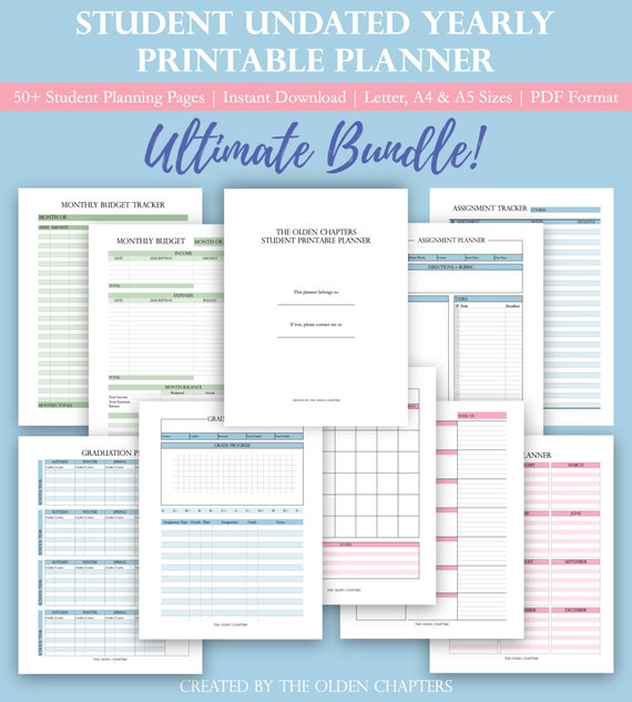 Student Printable Planner Undated | College Student Planner | Academic on college home printable, college paper printable, business planner printable, college student planners and organizers, college class schedule planner template,