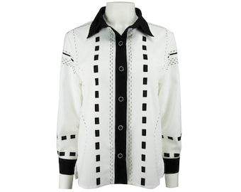 f9649002901 Vintage Black and White Button-Up Style Shirt with Button Sleeves by Drapers  and Damon s - Women s S