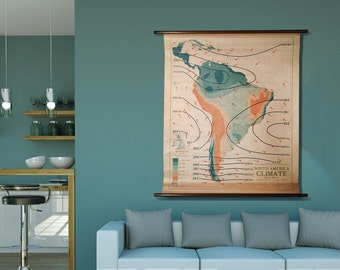 Vintage Wall Map - South America Climate