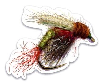 Illustrated UV Coated Sticker Rosenbauer's CDC Rabbits Foot Emerger, Fly Fishing, Fly Tying