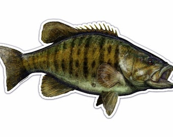 """Smallmouth Bass Die-cut Bumper Sticker or Decal 7.5"""" X 4"""" UV Coated Inks"""