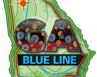 GA Blue Line Decal/Sticker 3.75 x 4.25 IInches (Native Trout Fishing)