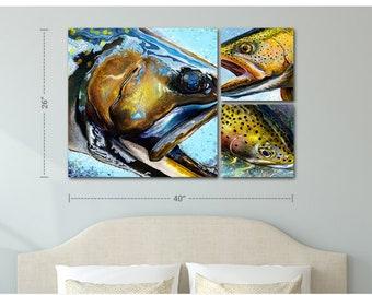 3 Panel Trout Head Canvas Prints
