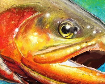 Golden Trout Head Painting Giclee Prints