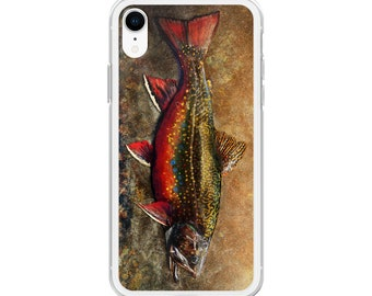 Spawning Male Brook Trout, Illustarted iPhone Case