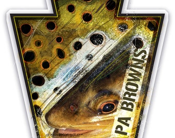 PA Keystone Brown Trout Sticker 4x4 Inches