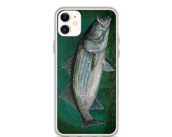 Striped Bass in Blue Green Depths, iPhone Case