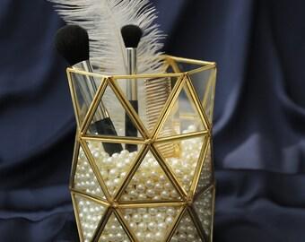 Brass Glass Makeup Brush Holder- Make-up Brush Holder | Make Up Brush Jar | Bathroom Jar | Bridesmaid Gift | Makeup Storage Organizer
