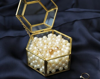 Copper Brass Glass Container Display case Jewelry Box- Hexagon  Pearls   Terrarine Display