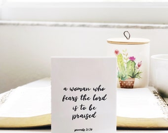 A Woman Who Fears the Lord is to Be Praised Digital Downloadable Art | Proverbs 31, Christian, Mother's Day, Gift