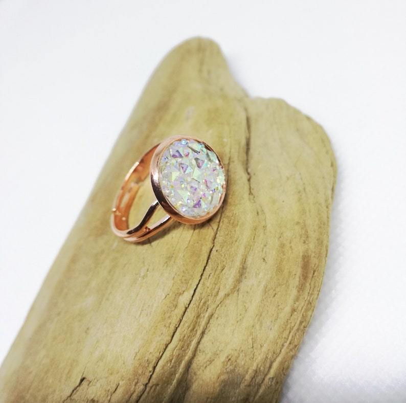 White Faux Druzy Ring Sparkling Cabochon Ring Adjustable Rose Gold Ring Bohemian Ring Druzy Jewelry Gift For Woman Rose Gold Jewelry