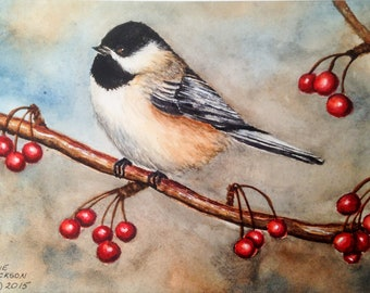 Watercolor Chickadee on Berry Branch (SOLD)