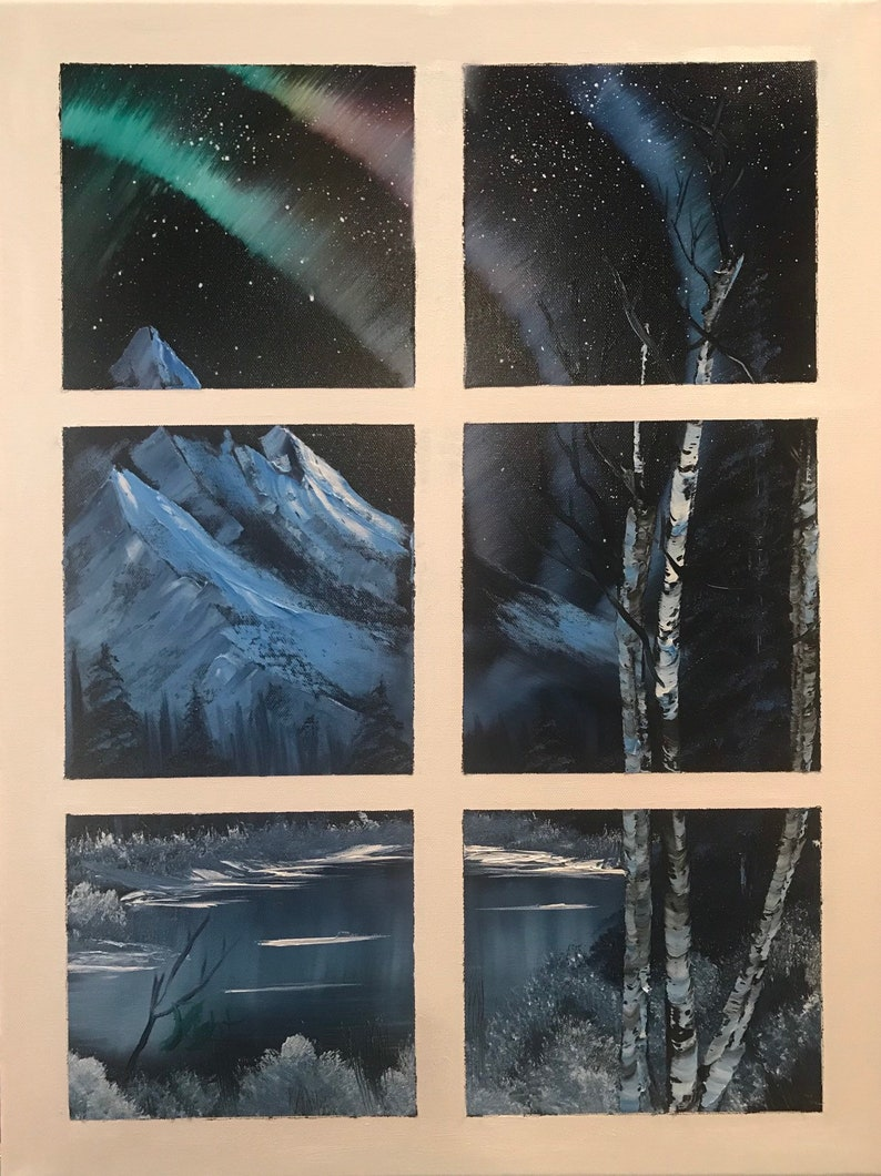 Through the Window to the Northern Lights on a Cold Winter Night in Alaska,  Inspired by Bob Ross and Nature