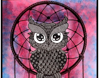 Owl Dreamcatcher Zentangle Art Print