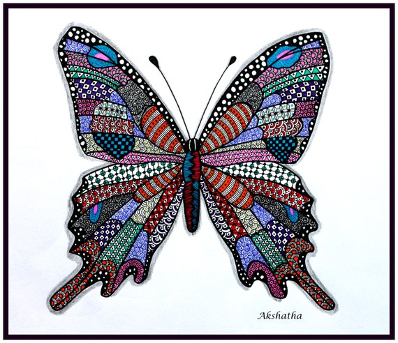 Colorful Butterfly Zentangle Print Etsy