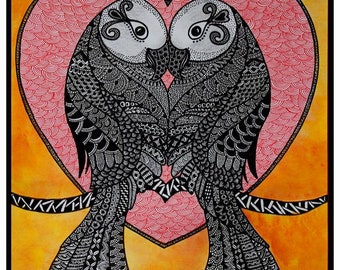 Love Birds Zentangle Art Print