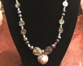Freshwater Pearls, Paua Shells Necklace with Maba Pearl Pendant