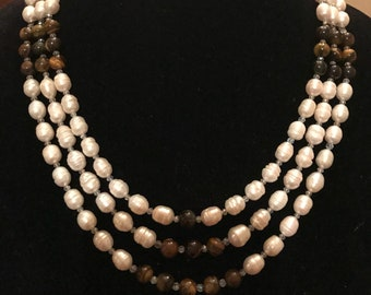 Freshwater Pearls & Tiger Eye Necklace with Earrings.