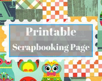 Printable collage scrapbooking or stationery page featuring owls, polka dots and more -- download and print on demand in full color