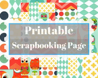 Printable collage scrapbooking or stationery page featuring owls, chevrons, polka dots and more - download and print on demand in color