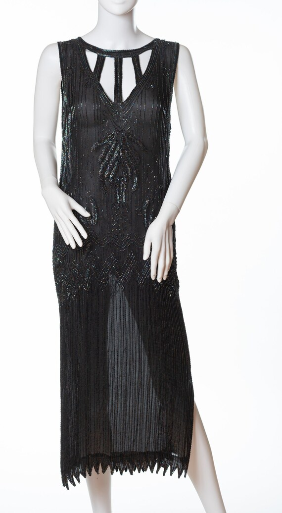 Vintage 1920s Silk Flapper Dress, Beaded Flapper D