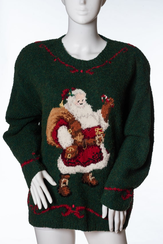 Vintage Talbots Santa Christmas Sweater Ugly Chris