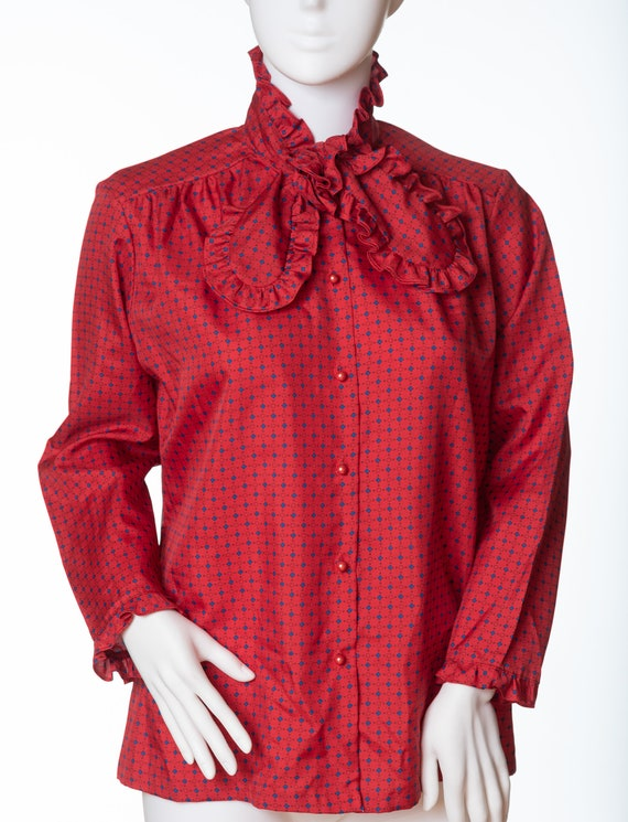 Vintage 1980s Liz Claiborne Mock Neck Silky Blouse With Front Pleat And Button-Up Back Size M