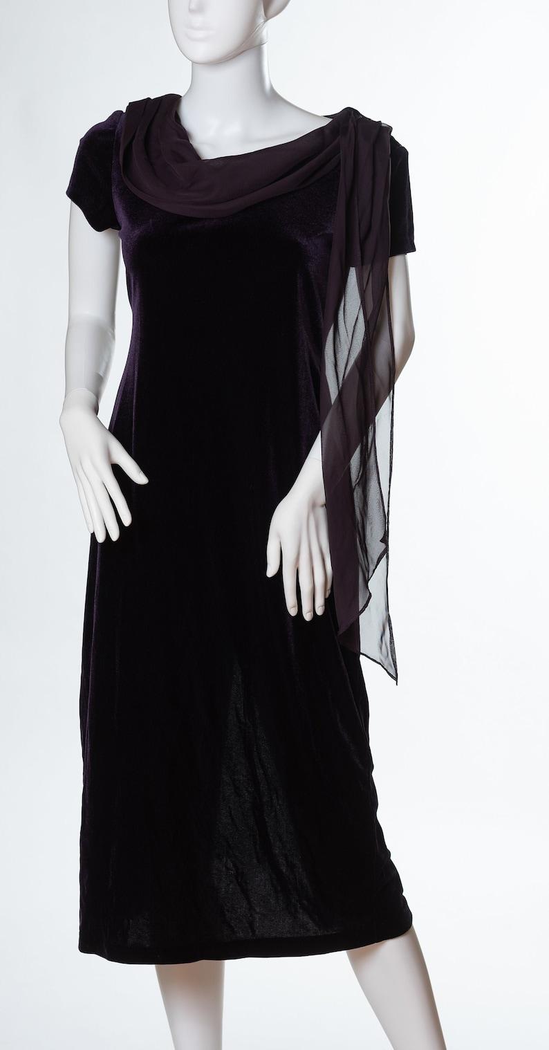 Vintage Connected Petite Royal Purple Velvet Dress