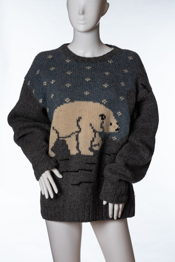 Vintage Club Room Knitted By Hand Polar Bear Sweat
