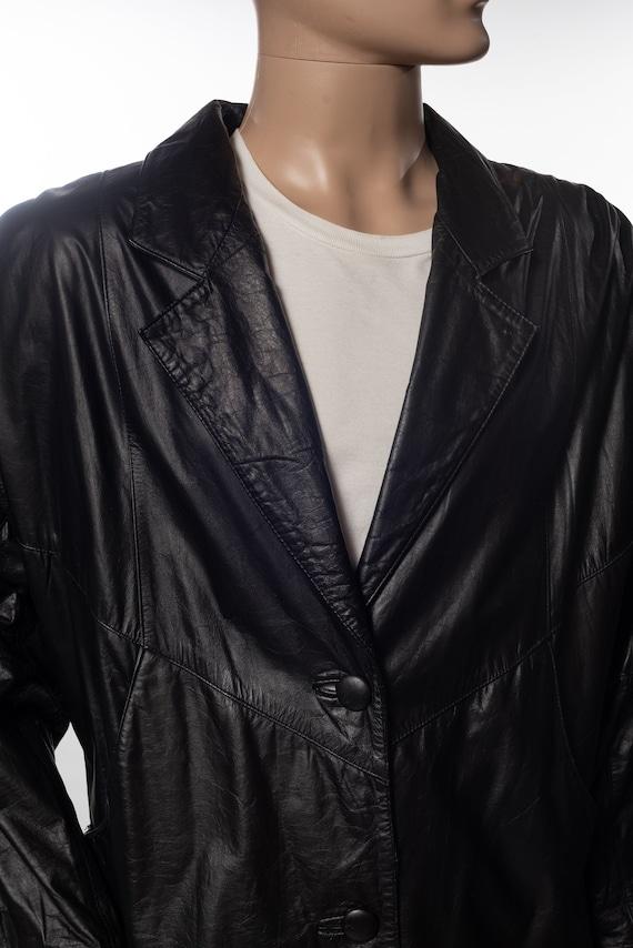 Vintage Avanti Black Leather Trench Coat