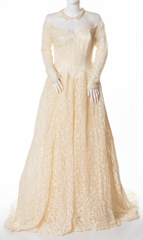 Vintage Custom Made Wedding Gown with Long Sleeves