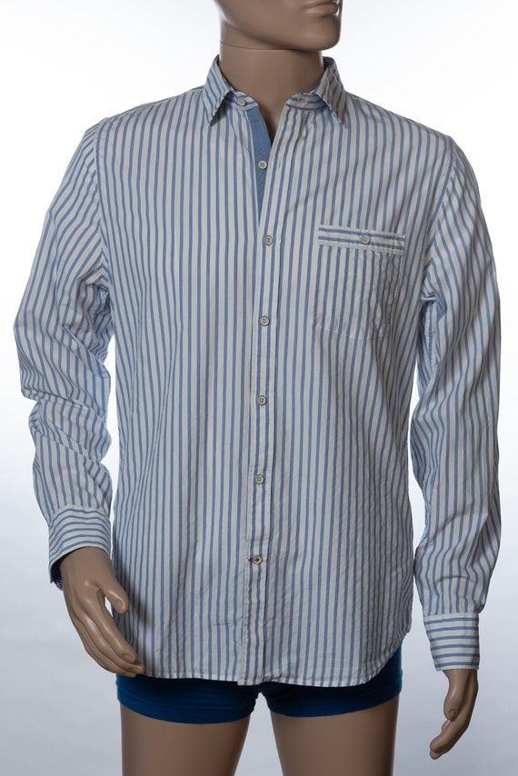 Express Fitted Button Down Striped Shirt