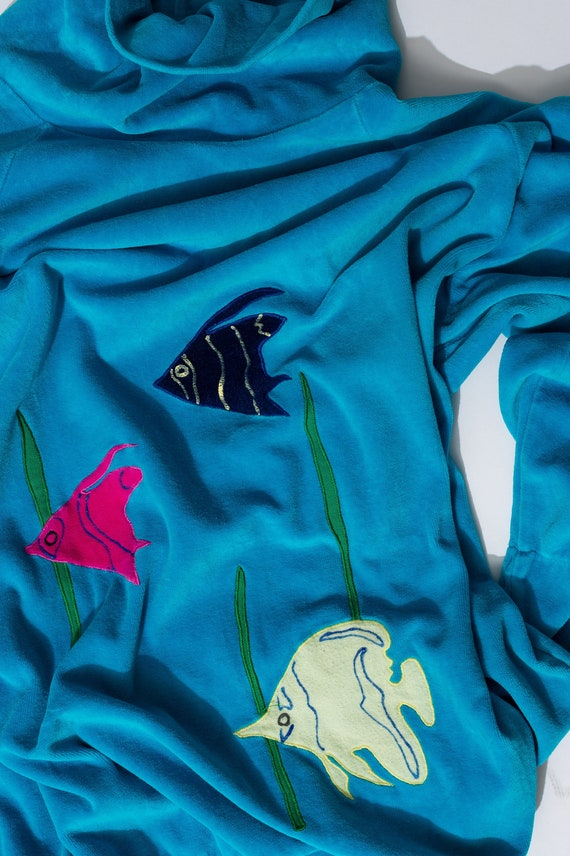 Vintage Velour Turquoise Fish Sweater
