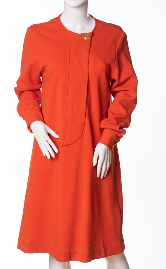 Vintage Bill Blass Bright Orange Wool Dress