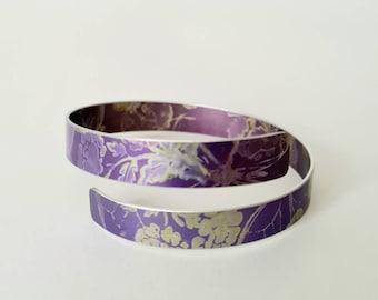 Hand Printed and Dyed Anodised Aluminium 2cm Cuff Bangle