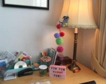 Hanging Pom Pom Decoration, Contains 5 Pom Poms, all different Colours.