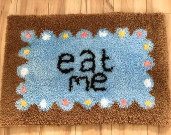 Alice in wonderland hand made eat me biscuit rug
