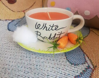 Alice in wonderland white rabbit teacup candle