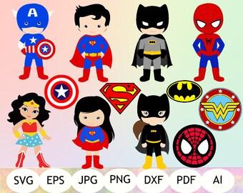 Super Heroes + Super Heroes Logo SVG, Super Hero Clipart, Super Hero Printable, Digital Item
