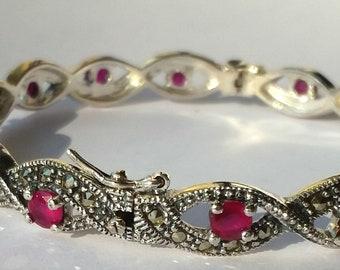 925 Mercasite Sterling Silver & Ruby adjustable bracelet